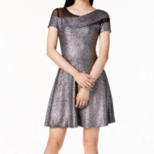 Bar Iii Metallic Fit & Flare Dress
